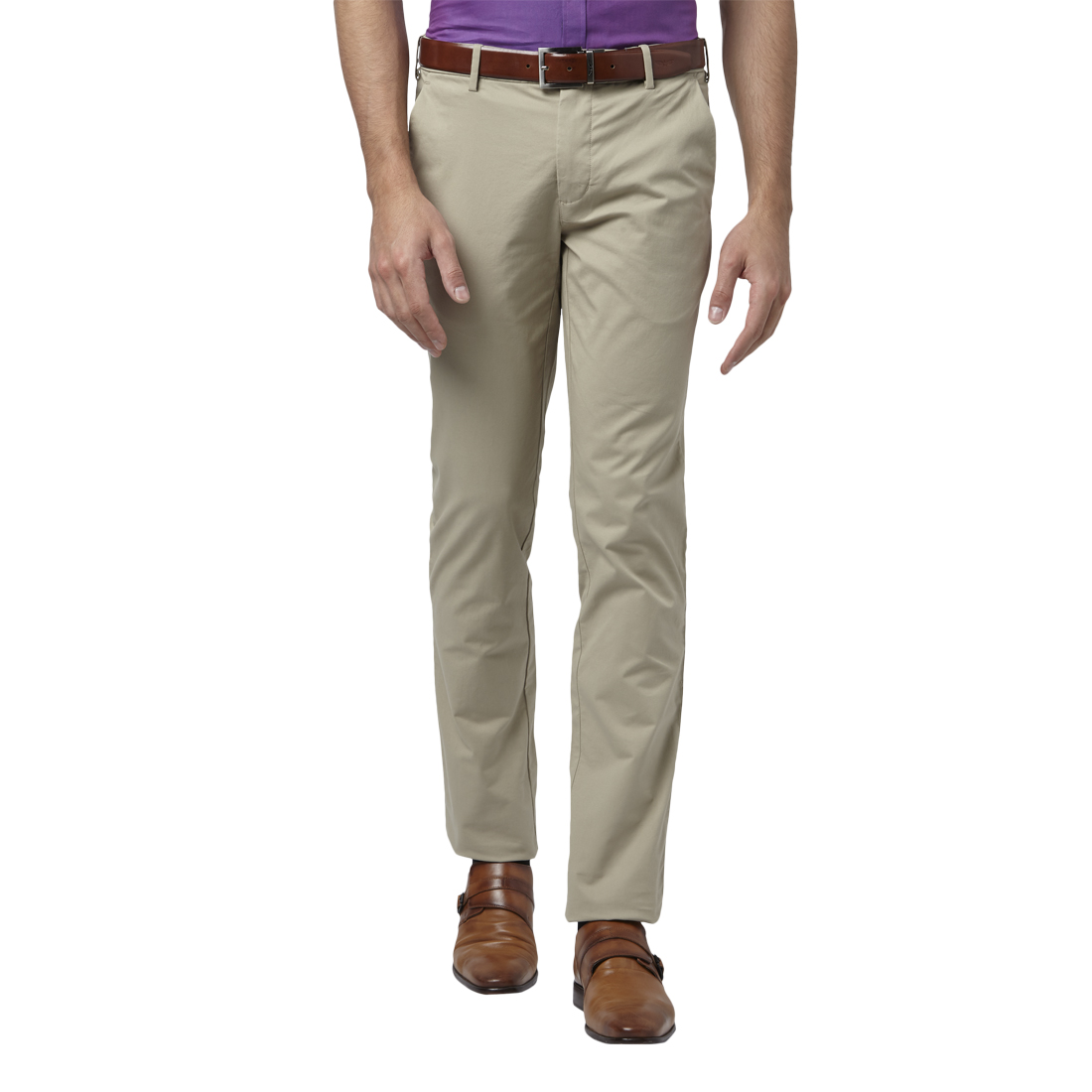 Park Avenue | Park Avenue Solid Brown Tapered Fit Trousers