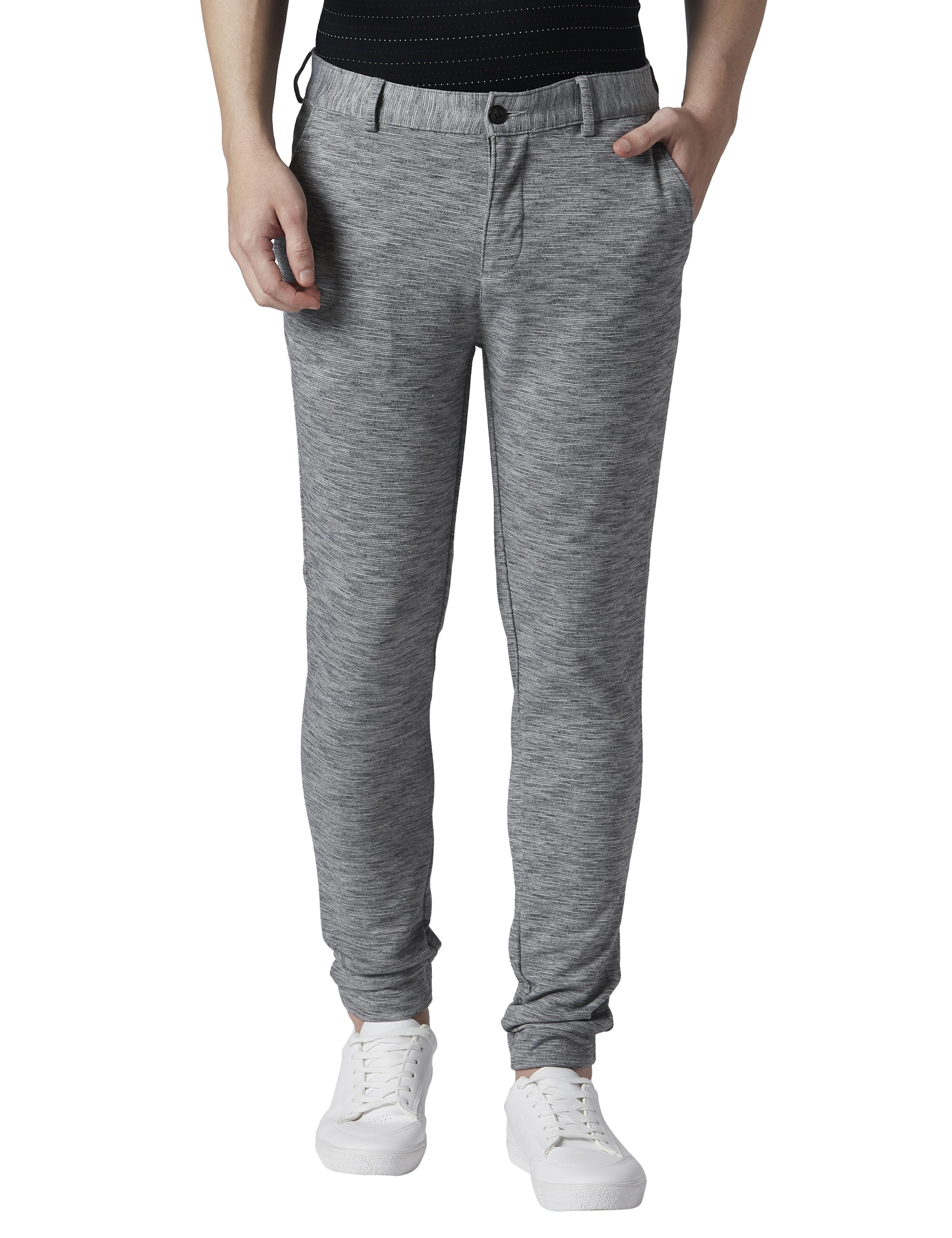 Park Avenue | Park Avenue Solid Grey Slim Fit Trousers