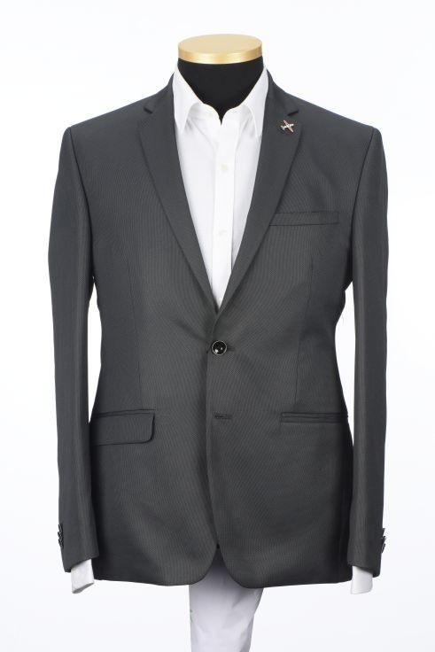 Park Avenue | Park Avenue Solid Grey Slim Fit Blazers