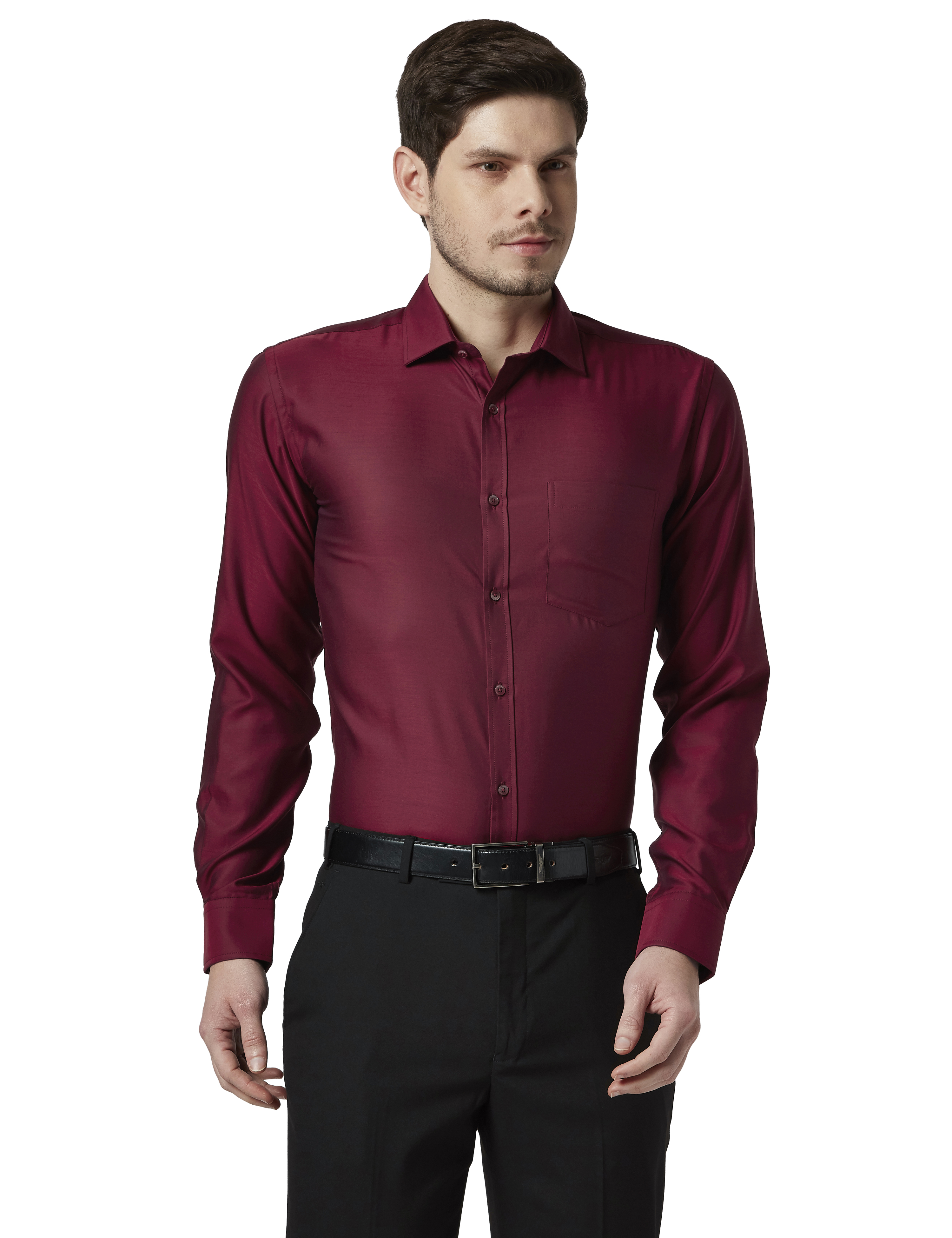 Park Avenue | Park Avenue Checkered Maroon Slim Fit Shirts