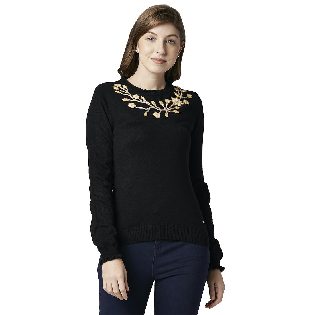Park Avenue | Park Avenue Women Embroidered Black Regular Fit Round neck Full Sleeve Sweater