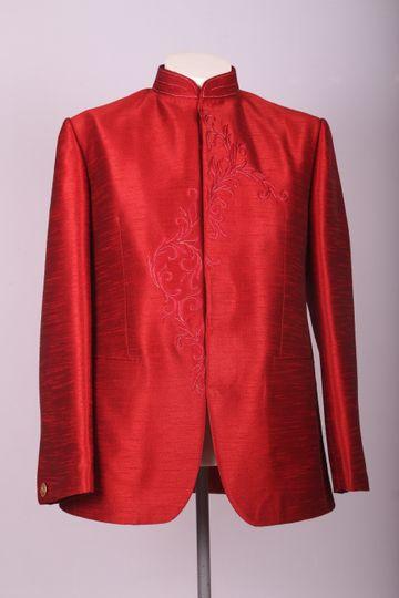 Ethnix by Raymond | ethnix by Raymond Red Bandhgala Jacket