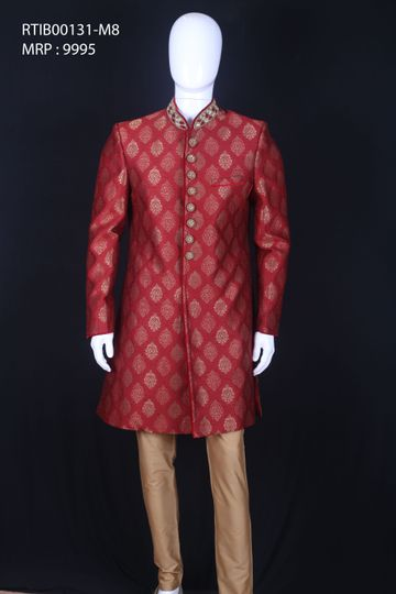 Ethnix by Raymond | Dark Maroon Indowestern Kurta with Breeches
