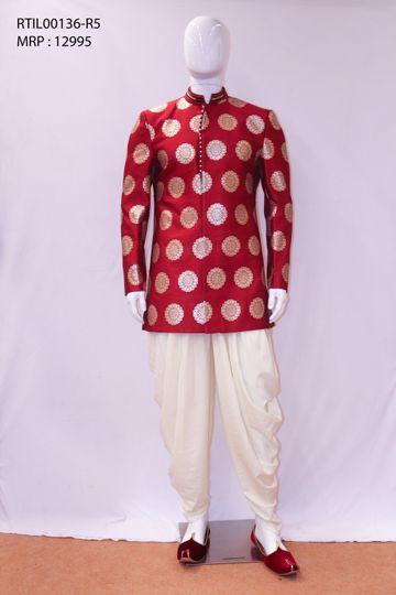 Ethnix by Raymond   Medium Red Indowestern Kurta with Breeches