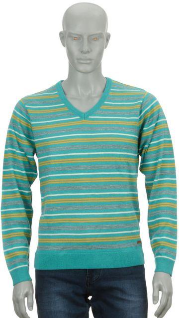 Park Avenue   Park Avenue Medium Blue Regular Fit Sweater