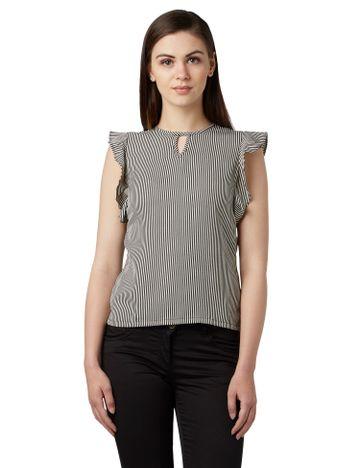 Park Avenue | Park Avenue Woman Striped Black Regular Fit Tops