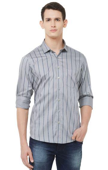 EVOQ | Grey Striped Cotton Casual Shirt