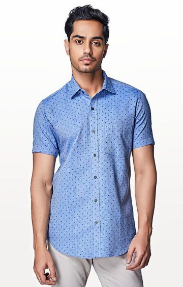 EVOQ | Blue Printed Casual Shirt