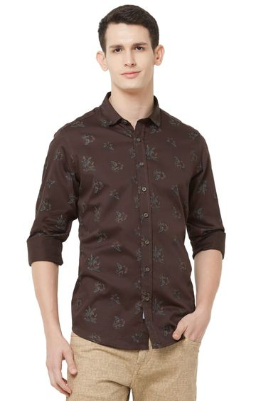 EVOQ | Brown Printed Cotton Casual Shirt