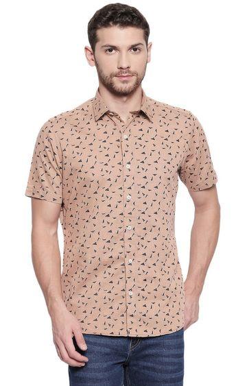 EVOQ | Brown Printed Casual Shirt