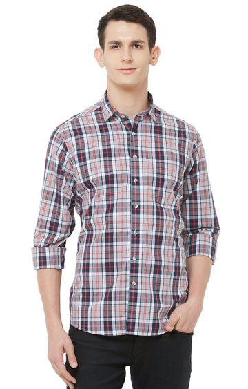 EVOQ | Grey Checked Cotton Casual Shirt