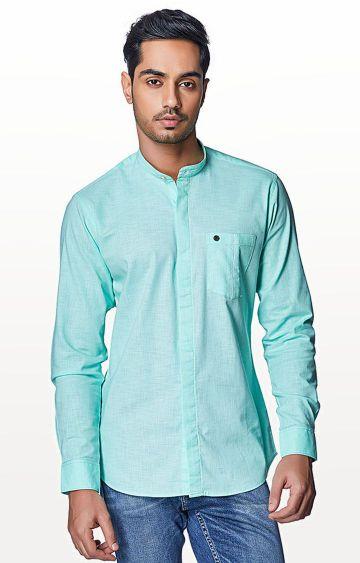 EVOQ | Green Solid Casual Shirt