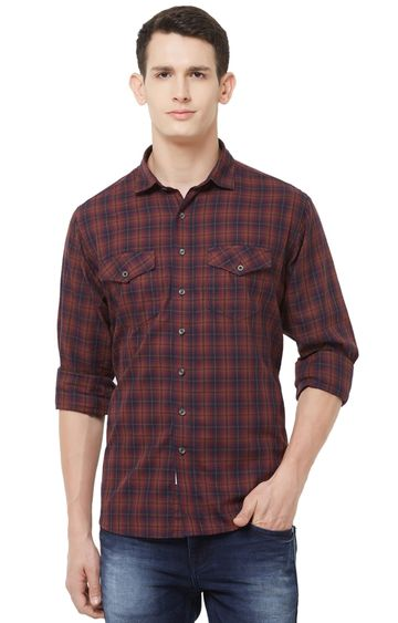 EVOQ | Red Checked Cotton Casual Shirt