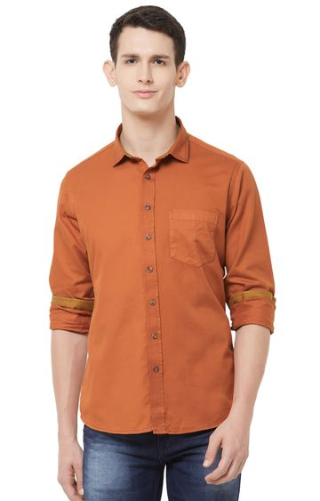 EVOQ | Rust Solid Cotton Casual Shirt