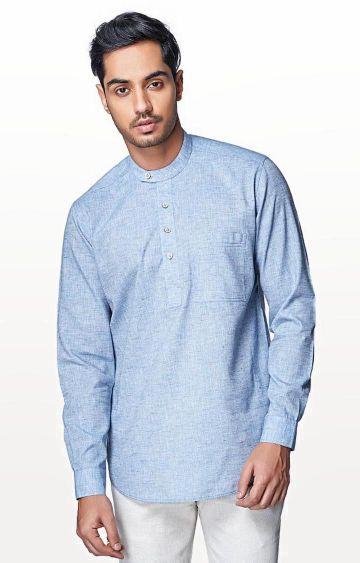 EVOQ | Sky Blue Solid Casual Shirt