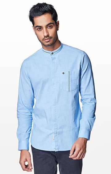 EVOQ | Sky Blue Solid Casual Shirt