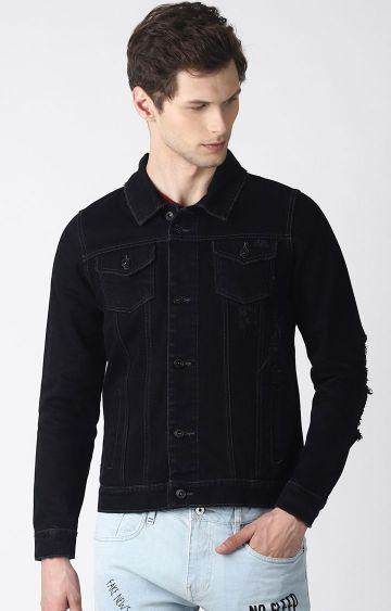 Blue Saint   Black Solid Denim Jacket