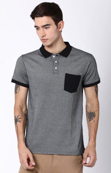 Blue Saint   Grey Solid Polo T-Shirt