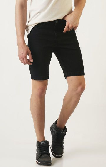 Blue Saint   Black Solid Shorts