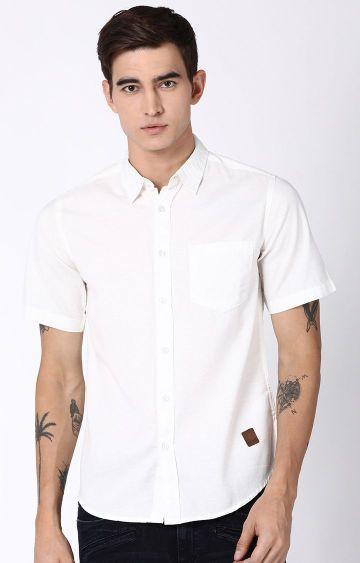Blue Saint | White Solid Casual Shirt