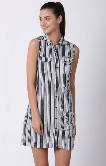 Blue Saint | Black and White Striped Shift Dress