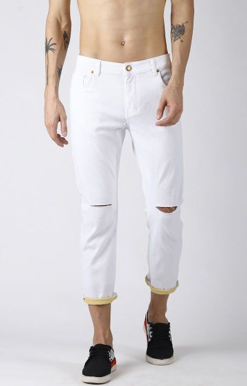 Blue Saint | White Ripped Tapered Jeans