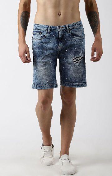 Blue Saint   Blue Ripped Shorts