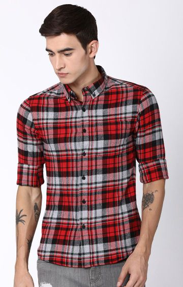 Blue Saint | Red Checked Casual Shirt