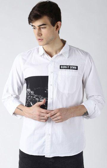 Blue Saint | White Printed Casual Shirt