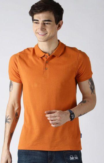Blue Saint   Orange Solid Polo T-Shirt