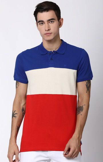 Blue Saint | Multicoloured Colourblock Polo T-Shirt