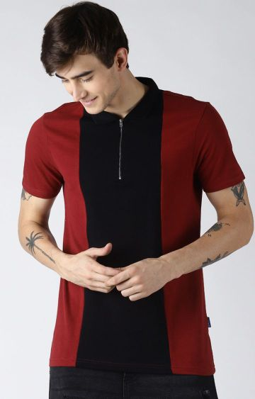 Blue Saint   Maroon and Black Solid Polo T-Shirt