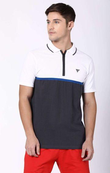 Blue Saint   White and Grey Colourblock Polo T-Shirt