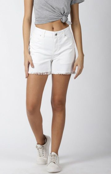 Blue Saint | White Solid Shorts
