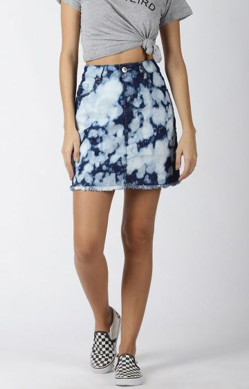 Blue Saint | Blue Printed Pencil Skirt