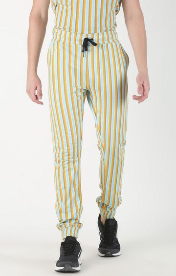 Blue Saint | Yellow Striped Casual Joggers
