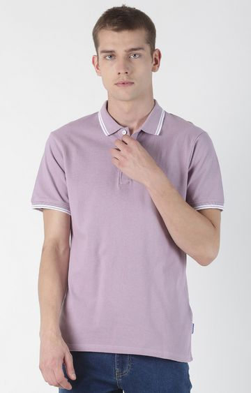 Blue Saint | Purple Solid Polo T-Shirt