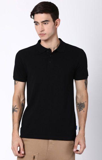 Blue Saint   Black Solid Polo T-Shirt