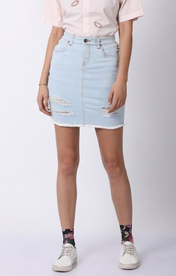 Blue Saint | Light Blue Ripped Pencil Skirt