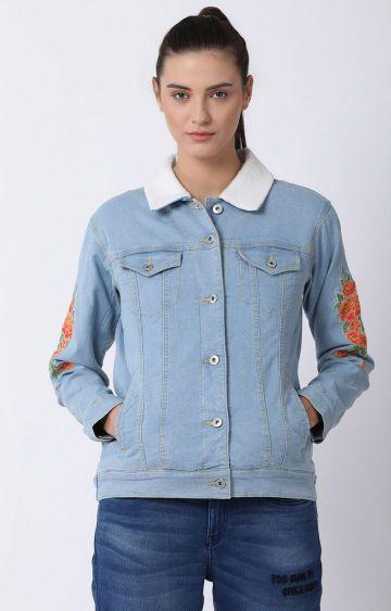 Blue Saint | Blue Printed Denim Jacket