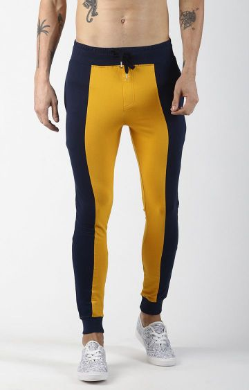 Blue Saint | Yellow and Navy Colourblock Casual Joggers