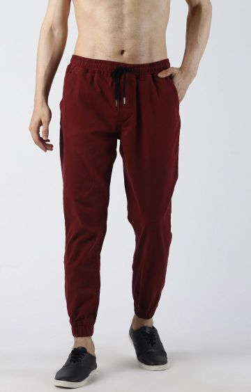 Blue Saint | Maroon Solid Casual Joggers