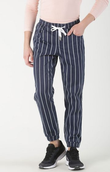 Blue Saint | Blue Striped Casual Joggers