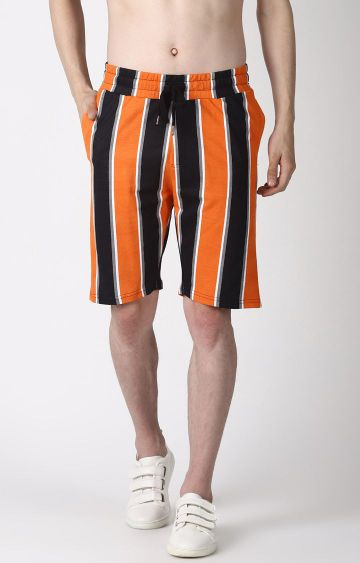 Blue Saint | Black and Orange Striped Shorts