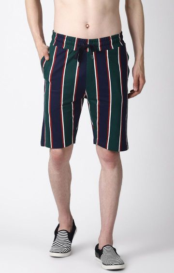 Blue Saint | Green and Navy Striped Shorts