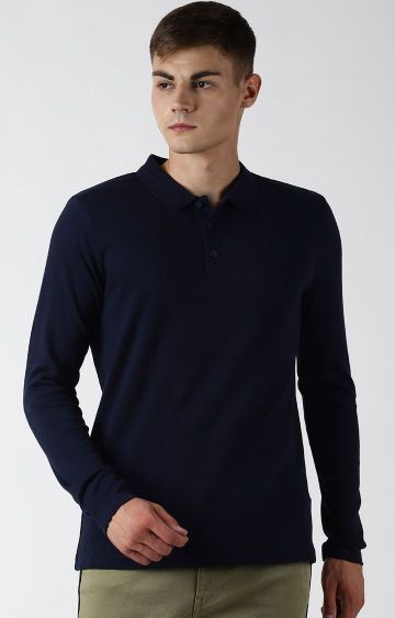 Blue Saint   Navy Solid Polo T-Shirt
