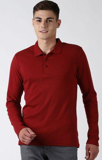 Blue Saint   Maroon Solid Polo T-Shirt