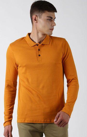 Blue Saint   Mustard Solid Polo T-Shirt