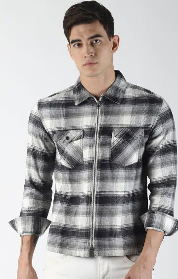 Blue Saint | White and Black Checked Casual Shirt