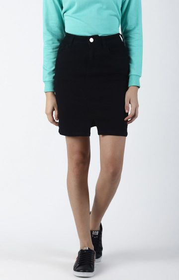 Blue Saint | Black Solid Straight Skirt
